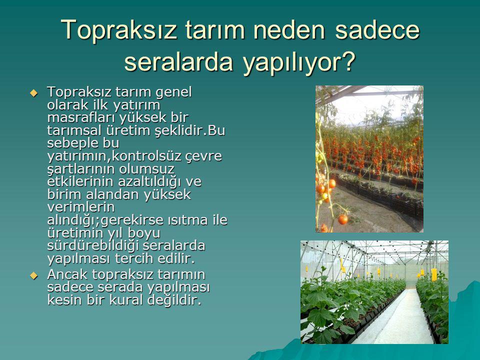 Topraksız tarım neden sadece seralarda yapılıyor?  Topraksız tarım genel olarak ilk yatırım masrafları yüksek bir tarımsal üretim şeklidir.Bu sebeple
