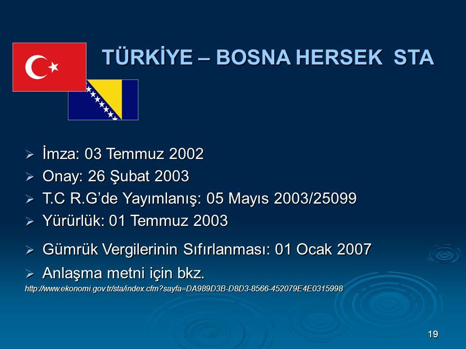 19 TÜRKİYE – BOSNA HERSEK STA  İmza: 03 Temmuz 2002  Onay: 26 Şubat 2003  T.C R.G'de Yayımlanış: 05 Mayıs 2003/25099  Yürürlük: 01 Temmuz 2003  Gümrük Vergilerinin Sıfırlanması: 01 Ocak 2007  Anlaşma metni için bkz.