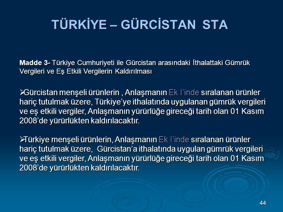 44 TÜRKİYE – GÜRCİSTAN STA Madde 3- Türkiye Cumhuriyeti ile Gürcistan arasındaki İthalattaki Gümrük Vergileri ve Eş Etkili Vergilerin Kaldırılması  Gürcistan menşeli ürünlerin, Anlaşmanın Ek I'inde sıralanan ürünler hariç tutulmak üzere, Türkiye'ye ithalatında uygulanan gümrük vergileri ve eş etkili vergiler, Anlaşmanın yürürlüğe gireceği tarih olan 01 Kasım 2008'de yürürlükten kaldırılacaktır.