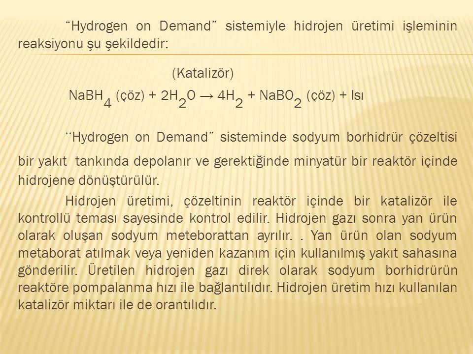 Hydrogen on Demand sistemiyle hidrojen üretimi işleminin reaksiyonu şu şekildedir: (Katalizör) NaBH 4 (çöz) + 2H 2 O → 4H 2 + NaBO 2 (çöz) + Isı ''Hydrogen on Demand sisteminde sodyum borhidrür çözeltisi bir yakıt tankında depolanır ve gerektiğinde minyatür bir reaktör içinde hidrojene dönüştürülür.