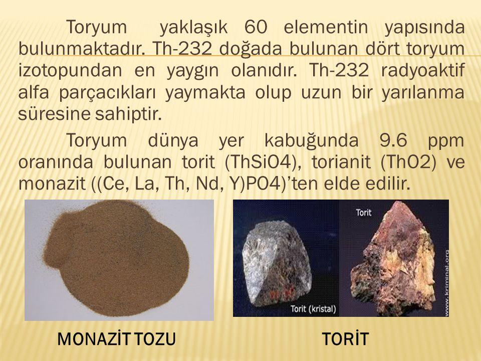 Toryum yaklaşık 60 elementin yapısında bulunmaktadır.