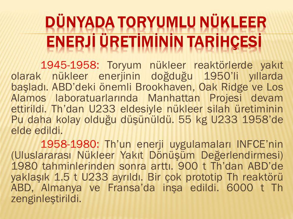 1945-1958: Toryum nükleer reaktörlerde yakıt olarak nükleer enerjinin doğduğu 1950'li yıllarda başladı.