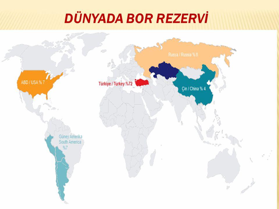 Türkiye'de bilinen bor yatakları; Kırka/Eskişehir, Bigadiç/Balıkesir, Kestelek/Bursa ve Emet/Kütahya'da bulunmaktadır.