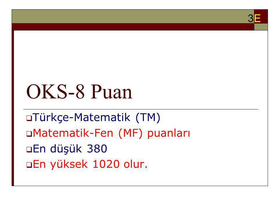 OKS-8 Puan  Türkçe-Matematik (TM)  Matematik-Fen (MF) puanları  En düşük 380  En yüksek 1020 olur. 3E3E