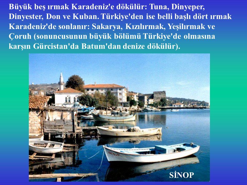 Büyük beş ırmak Karadeniz e dökülür: Tuna, Dinyeper, Dinyester, Don ve Kuban.