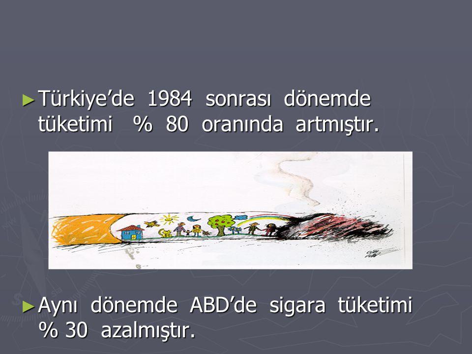 ► Türkiye'de 1984 sonrası dönemde tüketimi % 80 oranında artmıştır. ► Aynı dönemde ABD'de sigara tüketimi % 30 azalmıştır.
