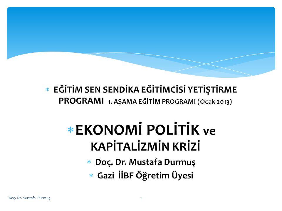  Felsefede yöntem  Toplumlar tarihi  Kapitalizm  İktisadi işleviyle kapitalist devlet  Sermaye birikimi, artı değer sömürüsü, kar  Bölüşüm  İşsizlik  Enflasyon/ Hayat pahalılığı  Büyüme / Kalkınma  Resesyon-Durgunluk ve Kriz  2008 Krizinin Dinamikleri  Avro Bölgesi Krizi  Türkiye Ekonomisinin Durumu Doç.