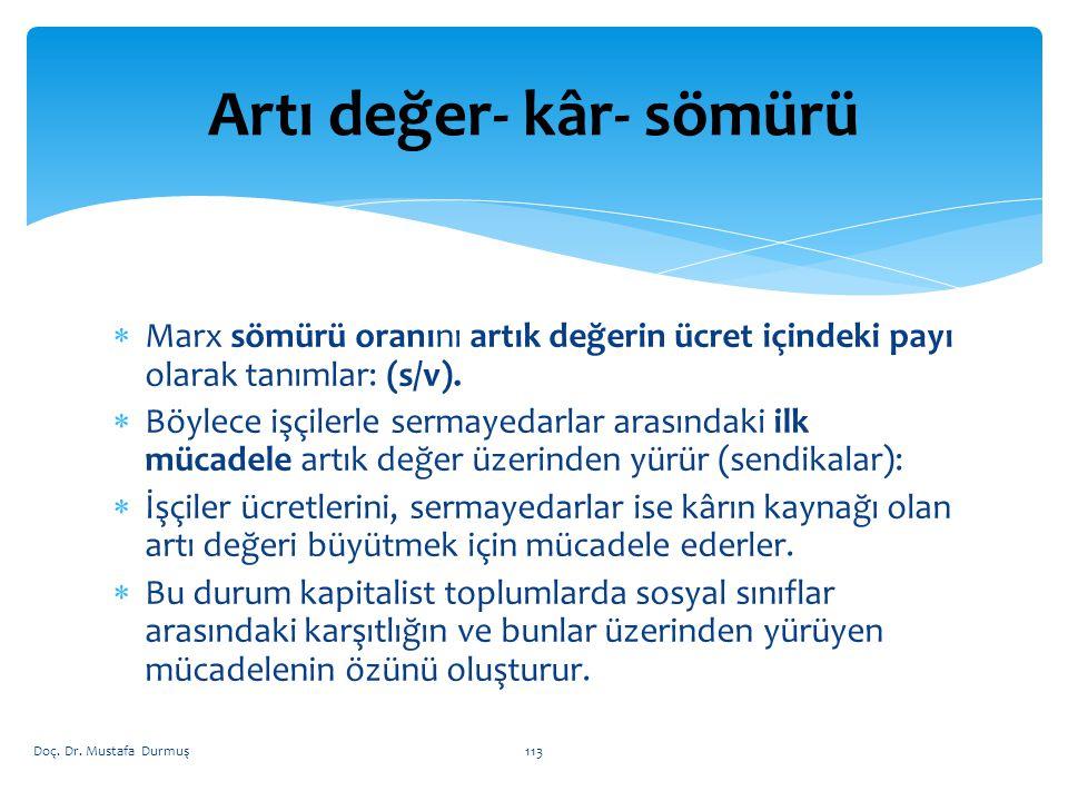  Marx sömürü oranını artık değerin ücret içindeki payı olarak tanımlar: (s/v).