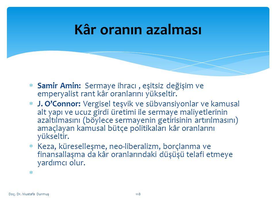  Samir Amin: Sermaye ihracı, eşitsiz değişim ve emperyalist rant kâr oranlarını yükseltir.