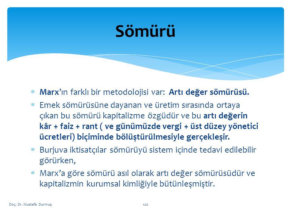  Marx'ın farklı bir metodolojisi var: Artı değer sömürüsü.