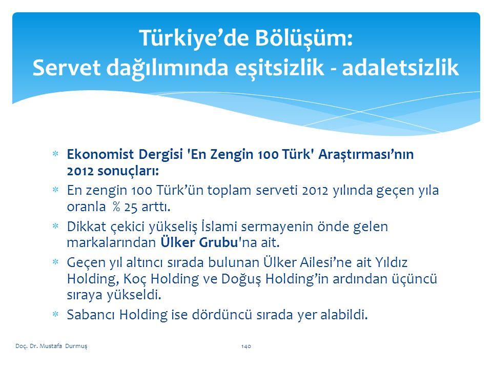  Ekonomist Dergisi En Zengin 100 Türk Araştırması'nın 2012 sonuçları:  En zengin 100 Türk'ün toplam serveti 2012 yılında geçen yıla oranla % 25 arttı.