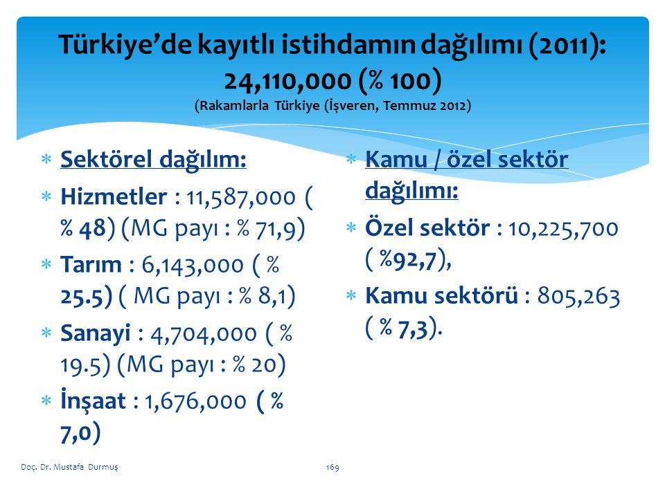  Sektörel dağılım:  Hizmetler : 11,587,000 ( % 48) (MG payı : % 71,9)  Tarım : 6,143,000 ( % 25.5) ( MG payı : % 8,1)  Sanayi : 4,704,000 ( % 19.5) (MG payı : % 20)  İnşaat : 1,676,000 ( % 7,0)  Kamu / özel sektör dağılımı:  Özel sektör : 10,225,700 ( %92,7),  Kamu sektörü : 805,263 ( % 7,3).