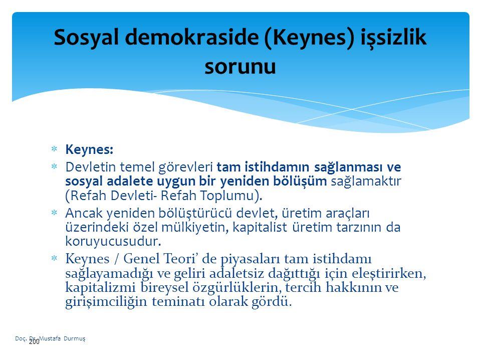  Keynes:  Devletin temel görevleri tam istihdamın sağlanması ve sosyal adalete uygun bir yeniden bölüşüm sağlamaktır (Refah Devleti- Refah Toplumu).