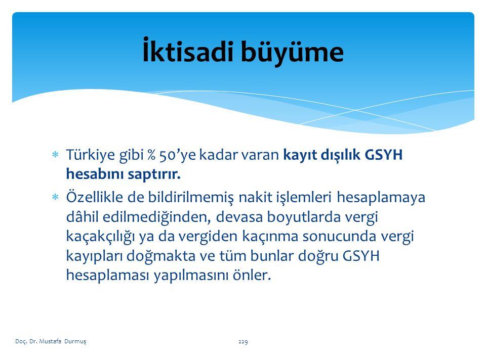  Türkiye gibi % 50'ye kadar varan kayıt dışılık GSYH hesabını saptırır.