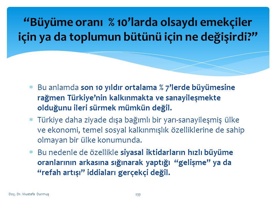  Bu anlamda son 10 yıldır ortalama % 7'lerde büyümesine rağmen Türkiye'nin kalkınmakta ve sanayileşmekte olduğunu ileri sürmek mümkün değil.