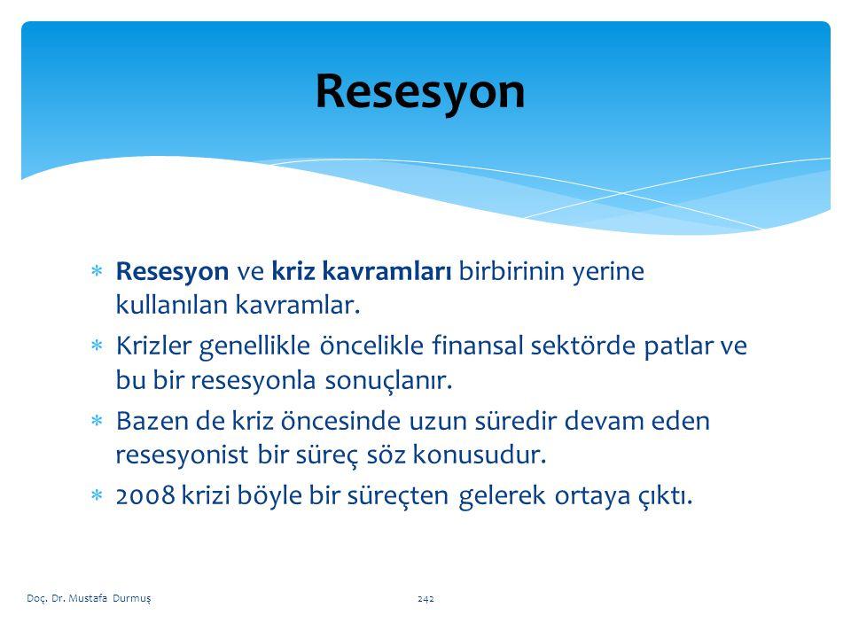  Resesyon ve kriz kavramları birbirinin yerine kullanılan kavramlar.