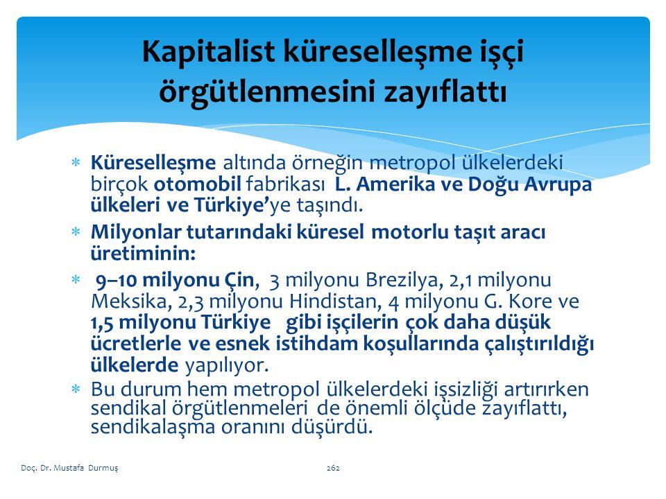 262  Küreselleşme altında örneğin metropol ülkelerdeki birçok otomobil fabrikası L.