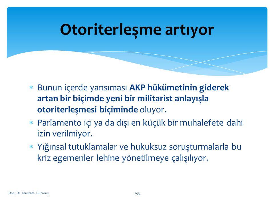  Bunun içerde yansıması AKP hükümetinin giderek artan bir biçimde yeni bir militarist anlayışla otoriterleşmesi biçiminde oluyor.