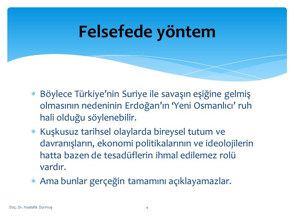 Böylece Türkiye'nin Suriye ile savaşın eşiğine gelmiş olmasının nedeninin Erdoğan'ın 'Yeni Osmanlıcı' ruh hali olduğu söylenebilir.