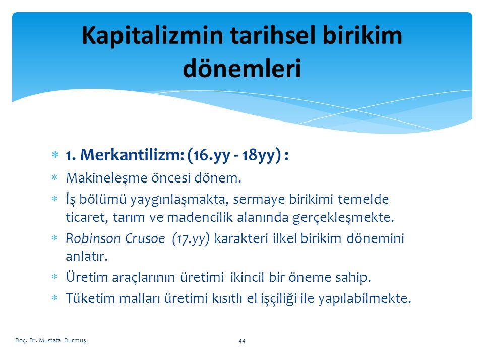  1.Merkantilizm: (16.yy - 18yy) :  Makineleşme öncesi dönem.