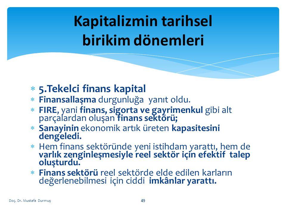  5.Tekelci finans kapital  Finansallaşma durgunluğa yanıt oldu.