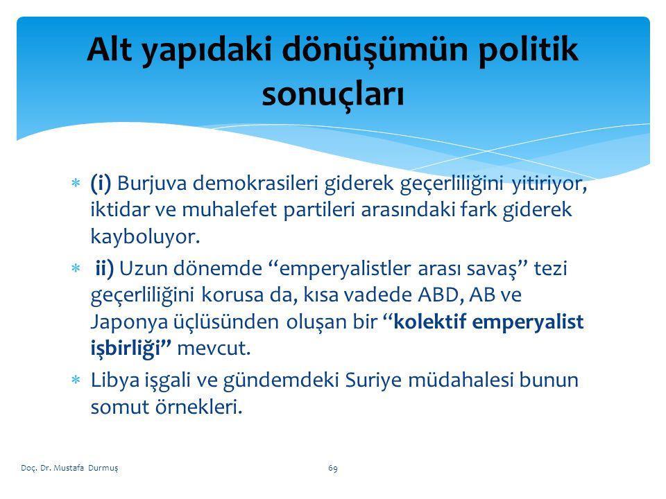  (i) Burjuva demokrasileri giderek geçerliliğini yitiriyor, iktidar ve muhalefet partileri arasındaki fark giderek kayboluyor.