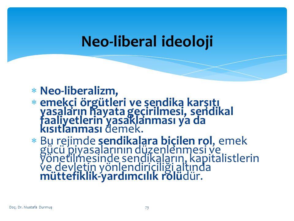  Neo-liberalizm,  emekçi örgütleri ve sendika karşıtı yasaların hayata geçirilmesi, sendikal faaliyetlerin yasaklanması ya da kısıtlanması demek.