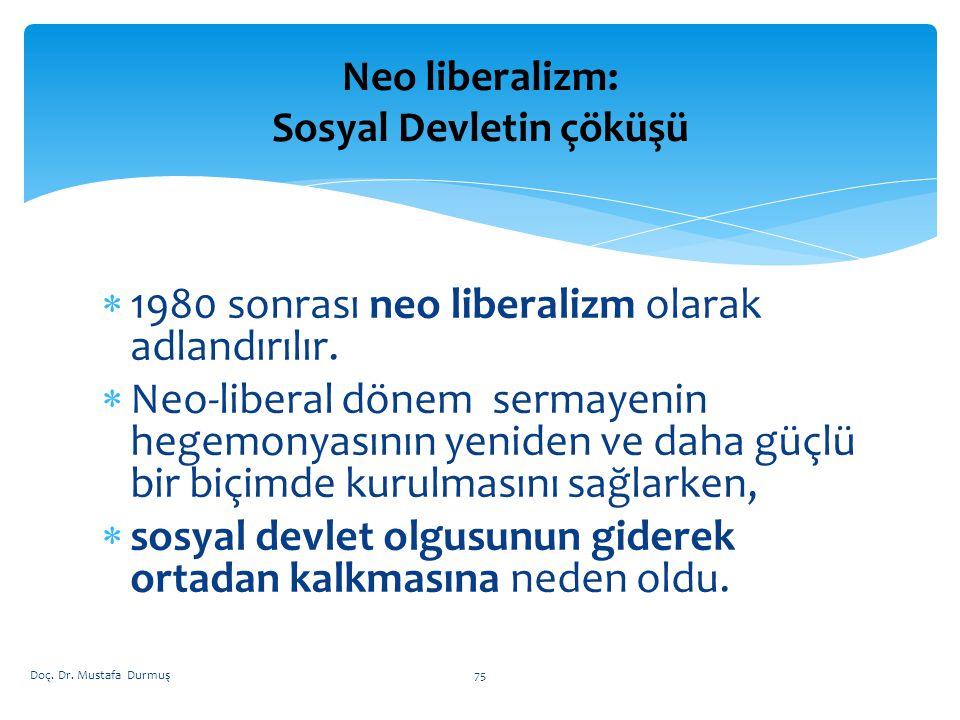  1980 sonrası neo liberalizm olarak adlandırılır.