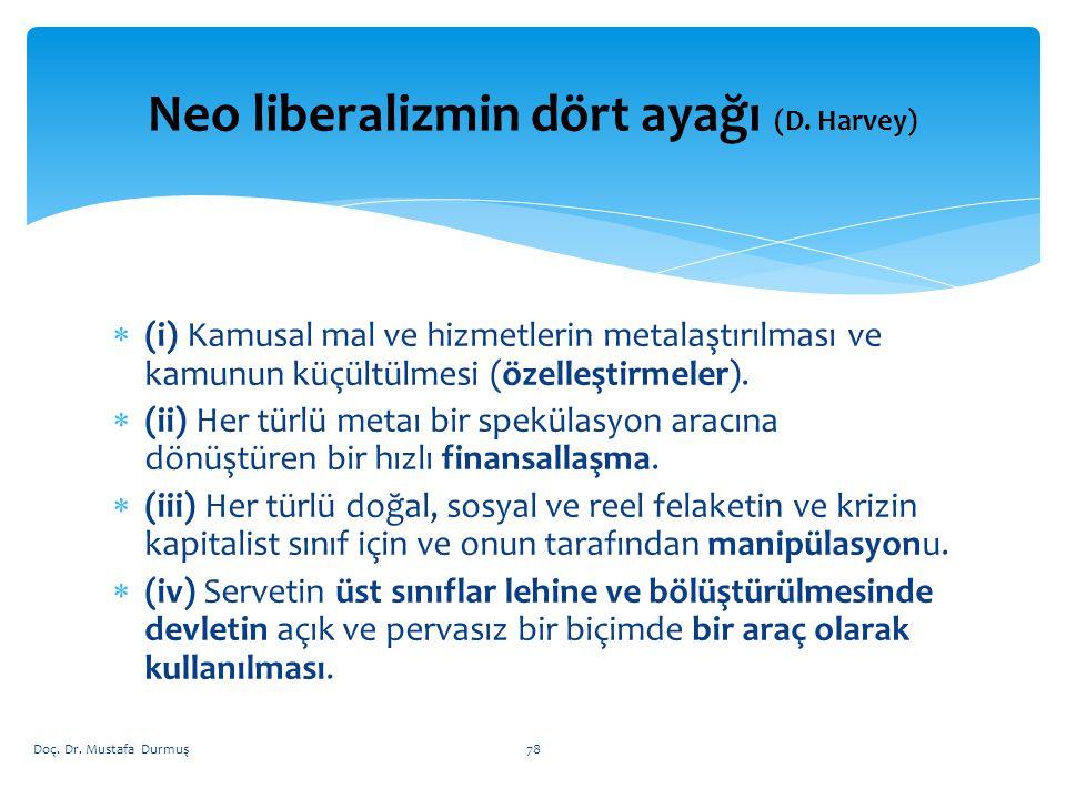  (i) Kamusal mal ve hizmetlerin metalaştırılması ve kamunun küçültülmesi (özelleştirmeler).