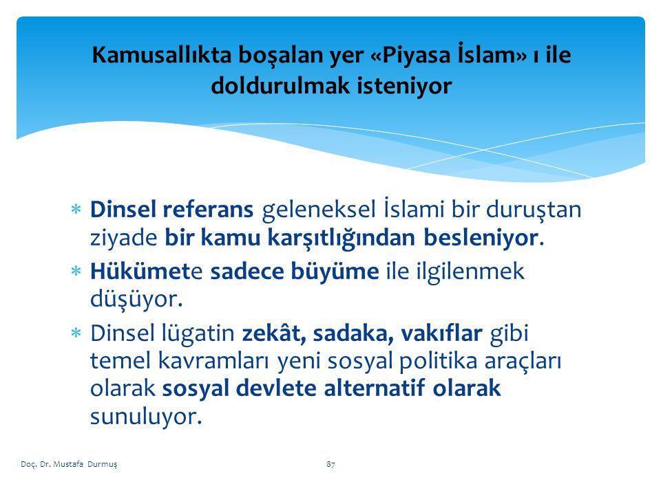  Dinsel referans geleneksel İslami bir duruştan ziyade bir kamu karşıtlığından besleniyor.
