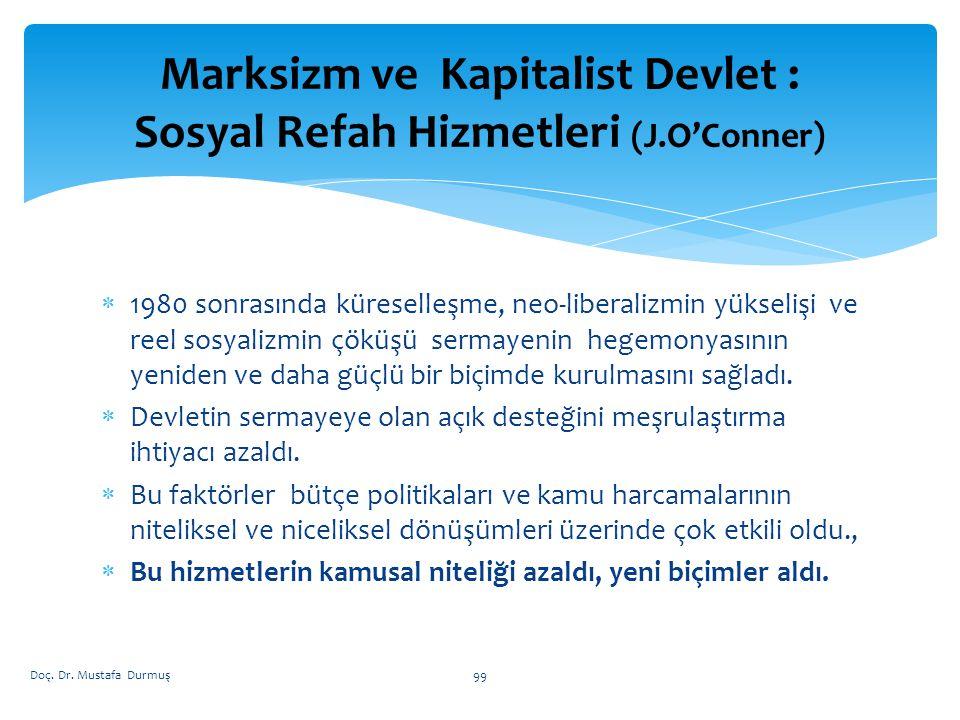  1980 sonrasında küreselleşme, neo-liberalizmin yükselişi ve reel sosyalizmin çöküşü sermayenin hegemonyasının yeniden ve daha güçlü bir biçimde kurulmasını sağladı.
