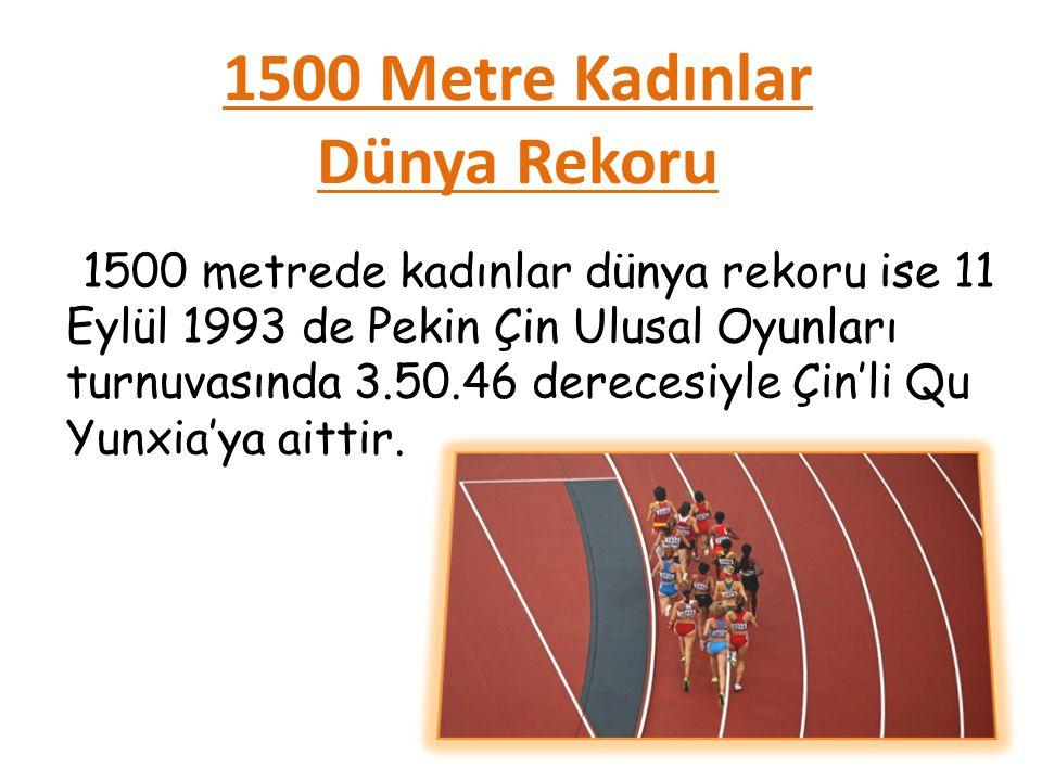 1500 Metre Kadınlar Dünya Rekoru 1500 metrede kadınlar dünya rekoru ise 11 Eylül 1993 de Pekin Çin Ulusal Oyunları turnuvasında 3.50.46 derecesiyle Çin'li Qu Yunxia'ya aittir.