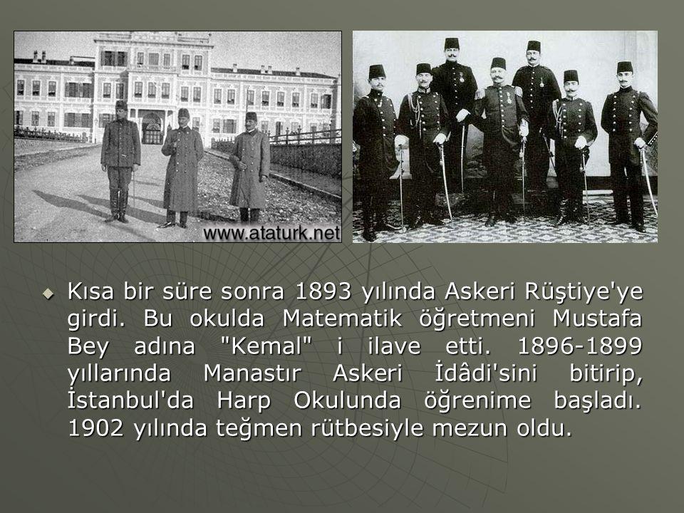 Kısa bir süre sonra 1893 yılında Askeri Rüştiye'ye girdi. Bu okulda Matematik öğretmeni Mustafa Bey adına
