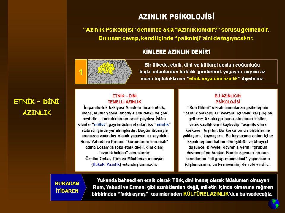Yukarıda bahsedilen etnik olarak Türk, dini inanış olarak Müslüman olmayan Rum, Yahudi ve Ermeni gibi azınlıklardan değil, milletin içinde olmasına rağmen birbirinden farklılaşmış kesimlerinden bahsedeceğiz.