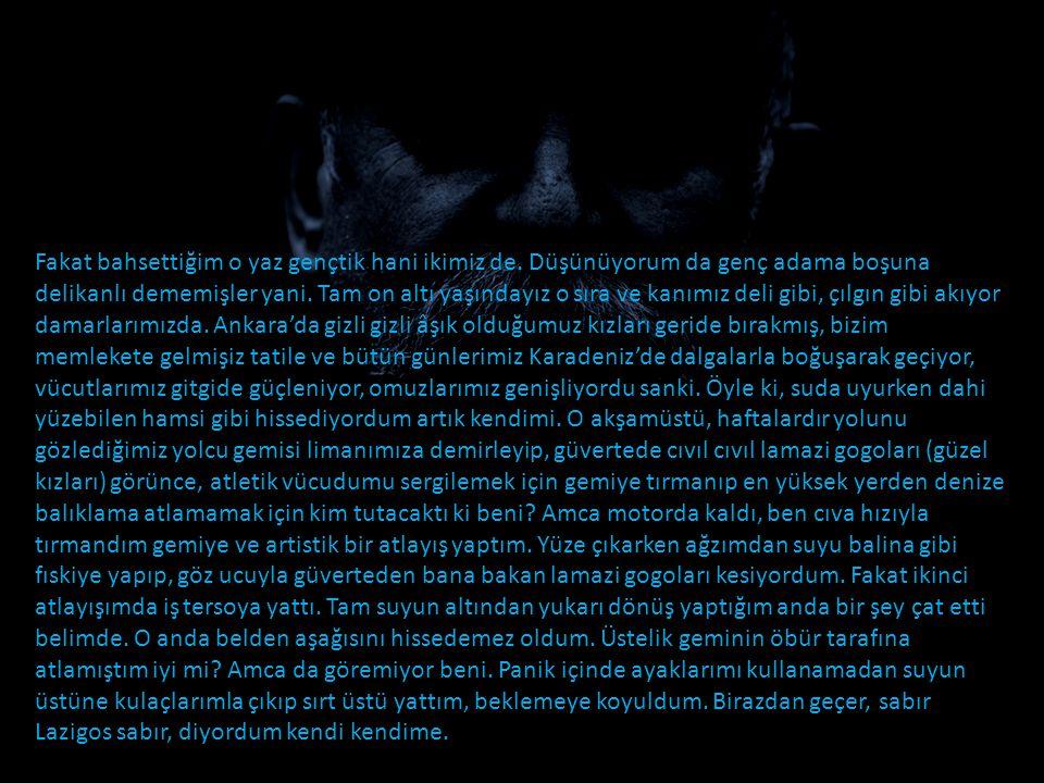 Anlatacağım olayı yaşadığım o akşamüstü, limana İstanbul'dan yolcu taşıyan geminin yanaştığını görünce, bizim Amca'yla motora atladığımız gibi geminin