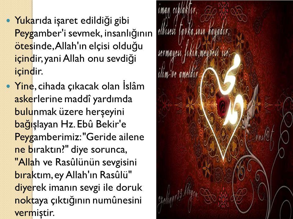 Yukarıda işaret edildi ğ i gibi Peygamber'i sevmek, insanlı ğ ının ötesinde, Allah'ın elçisi oldu ğ u içindir, yani Allah onu sevdi ğ i içindir. Yine,