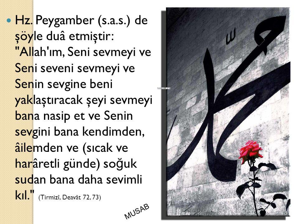 Hz. Peygamber (s.a.s.) de şöyle duâ etmiştir: