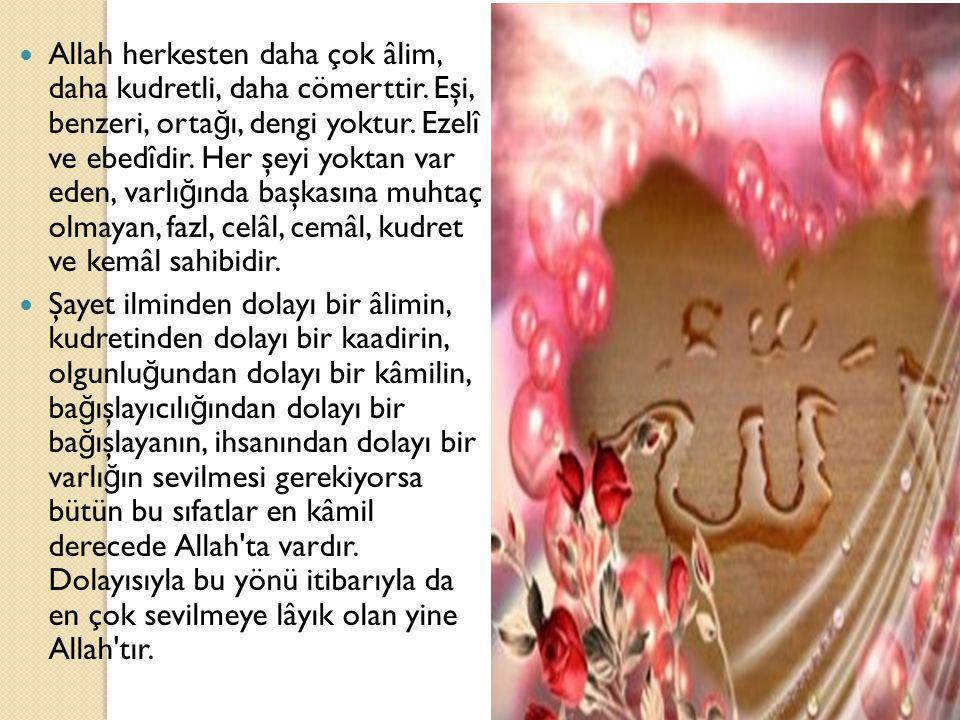 Allah herkesten daha çok âlim, daha kudretli, daha cömerttir. Eşi, benzeri, orta ğ ı, dengi yoktur. Ezelî ve ebedîdir. Her şeyi yoktan var eden, varlı