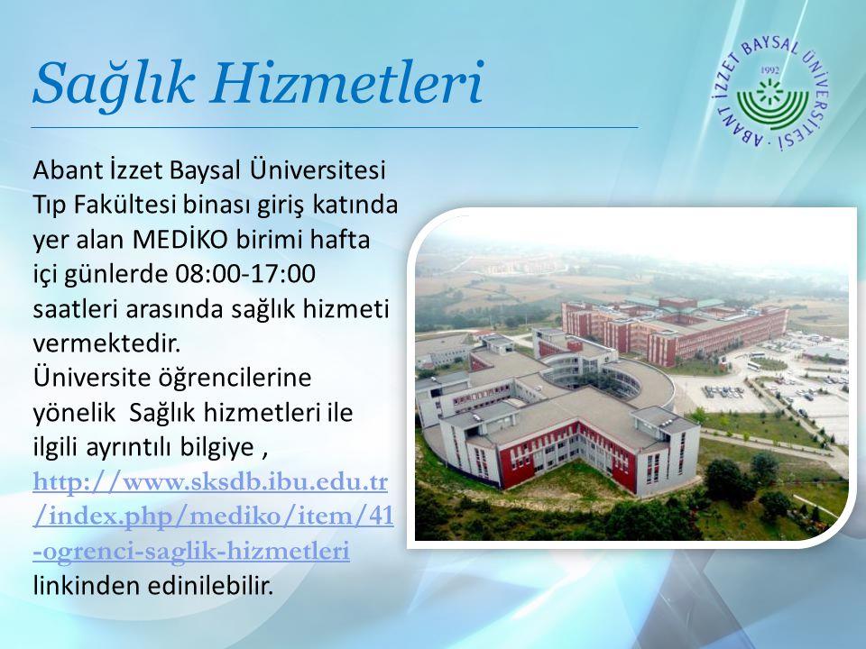 Sağlık Hizmetleri Abant İzzet Baysal Üniversitesi Tıp Fakültesi binası giriş katında yer alan MEDİKO birimi hafta içi günlerde 08:00-17:00 saatleri arasında sağlık hizmeti vermektedir.