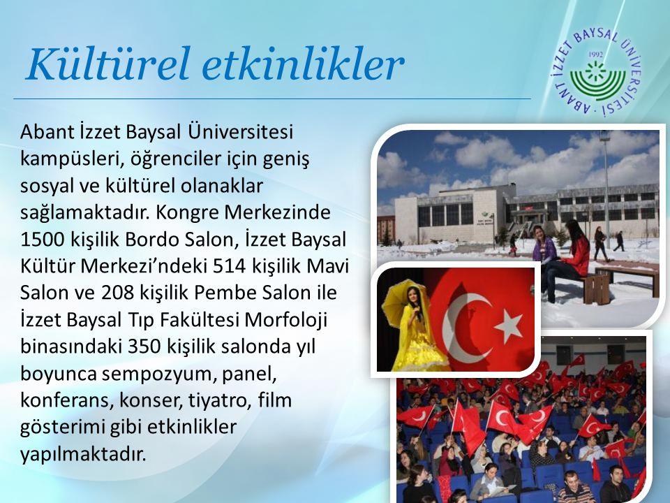 Kültürel etkinlikler Abant İzzet Baysal Üniversitesi kampüsleri, öğrenciler için geniş sosyal ve kültürel olanaklar sağlamaktadır.