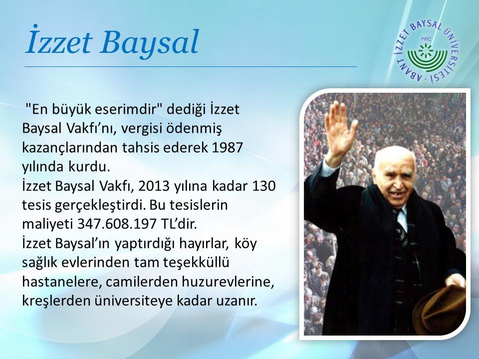 En büyük eserimdir dediği İzzet Baysal Vakfı'nı, vergisi ödenmiş kazançlarından tahsis ederek 1987 yılında kurdu.