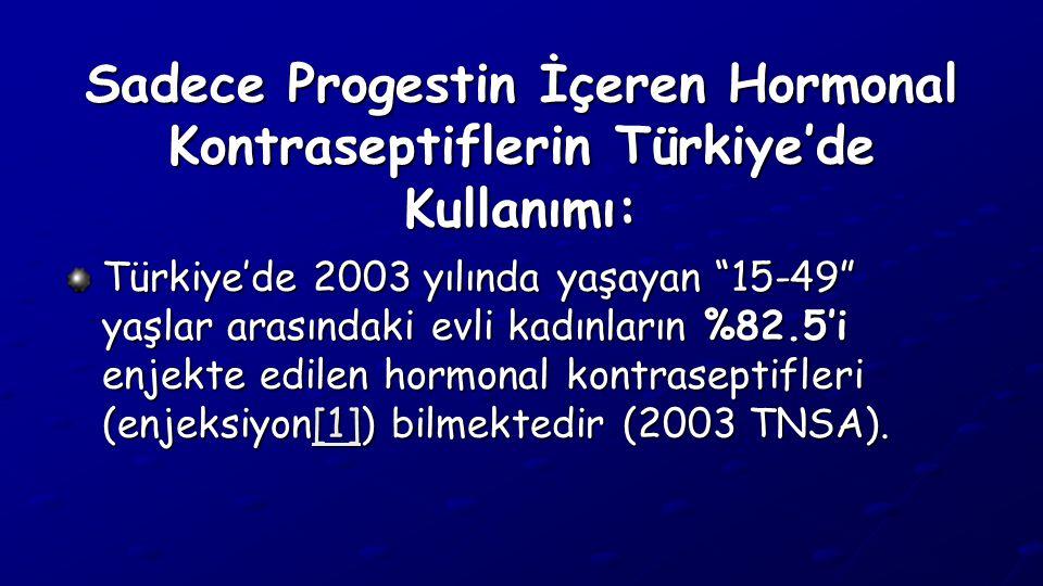 """Sadece Progestin İçeren Hormonal Kontraseptiflerin Türkiye'de Kullanımı: Türkiye'de 2003 yılında yaşayan """"15-49"""" yaşlar arasındaki evli kadınların %82"""