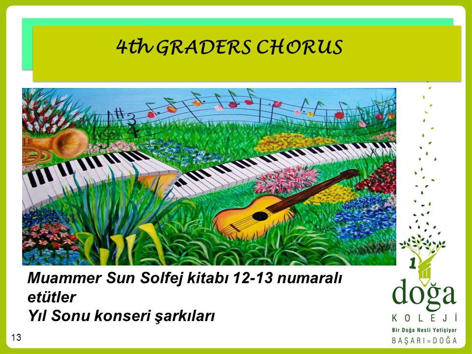 13 4th GRADERS CHORUS Muammer Sun Solfej kitabı 12-13 numaralı etütler Yıl Sonu konseri şarkıları