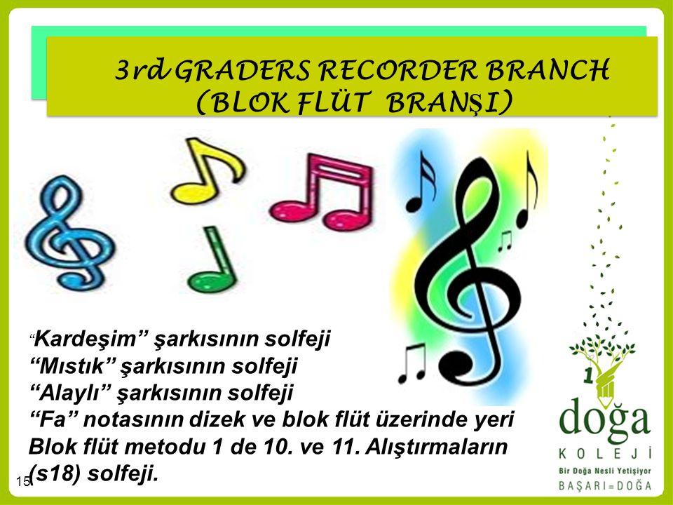 """15 3rd GRADERS RECORDER BRANCH (BLOK FLÜT BRAN Ş I) """" Kardeşim"""" şarkısının solfeji """"Mıstık"""" şarkısının solfeji """"Alaylı"""" şarkısının solfeji """"Fa"""" notası"""