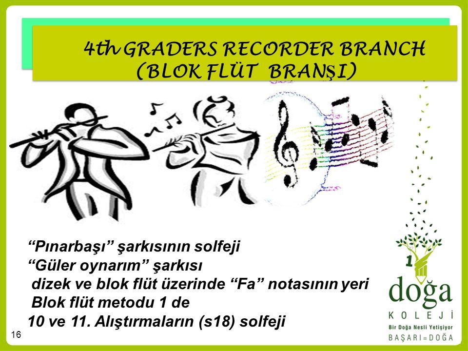 """16 4th GRADERS RECORDER BRANCH (BLOK FLÜT BRAN Ş I) """"Pınarbaşı"""" şarkısının solfeji """"Güler oynarım"""" şarkısı dizek ve blok flüt üzerinde """"Fa"""" notasının"""