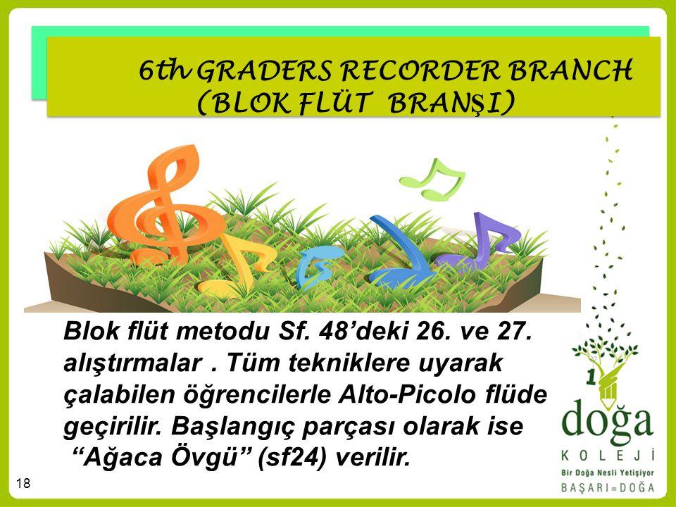 18 6th GRADERS RECORDER BRANCH (BLOK FLÜT BRAN Ş I) Blok flüt metodu Sf. 48'deki 26. ve 27. alıştırmalar. Tüm tekniklere uyarak çalabilen öğrencilerle