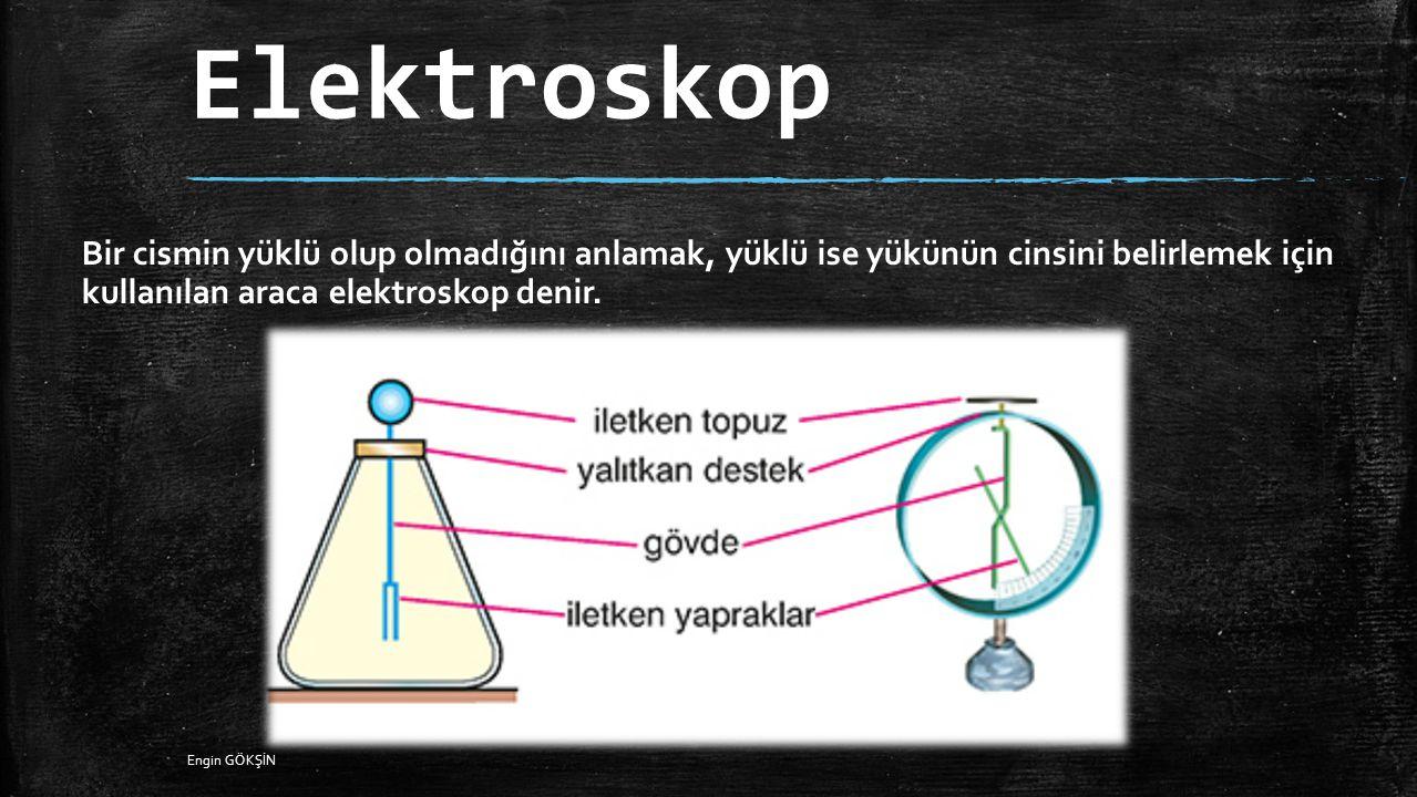 Elektroskop Bir cismin yüklü olup olmadığını anlamak, yüklü ise yükünün cinsini belirlemek için kullanılan araca elektroskop denir. Engin GÖKŞİN