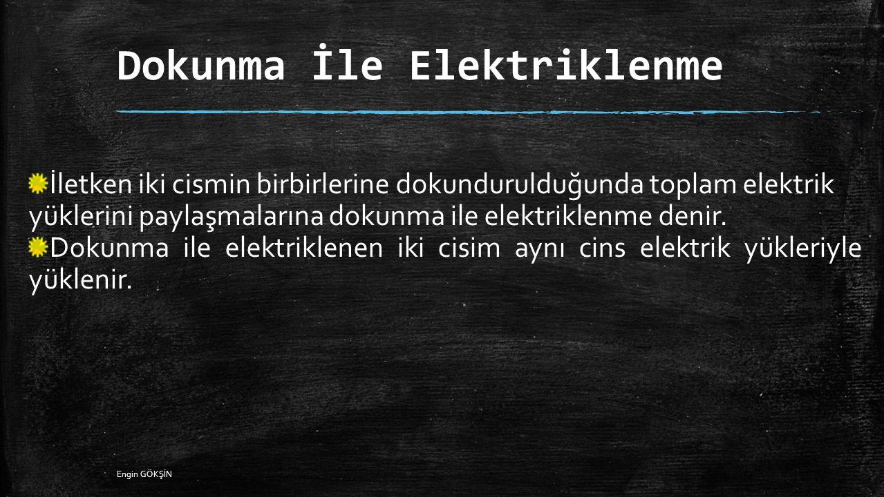 Dokunma İle Elektriklenme İletken iki cismin birbirlerine dokundurulduğunda toplam elektrik yüklerini paylaşmalarına dokunma ile elektriklenme denir.