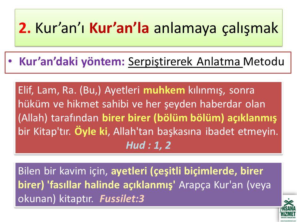2. Kur'an'ı Kur'an'la anlamaya çalışmak Kur'an'daki yöntem: Serpiştirerek Anlatma Metodu Elif, Lam, Ra. (Bu,) Ayetleri muhkem kılınmış, sonra hüküm ve
