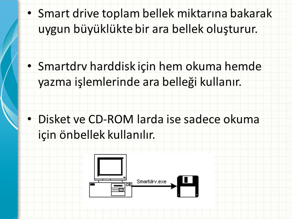 Smart drive toplam bellek miktarına bakarak uygun büyüklükte bir ara bellek oluşturur.